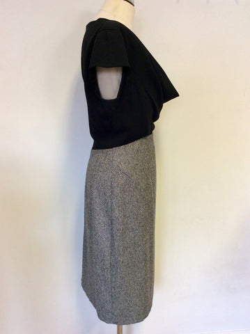 JAEGER BLACK WITH BLACK & WHITE MARL WOOL BLEND DRESS SIZE 14