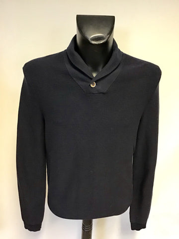 TED BAKER NAVY BLUE COLLARED V NECKLINE BUTTON TRIM JUMPER SIZE 4 UK M