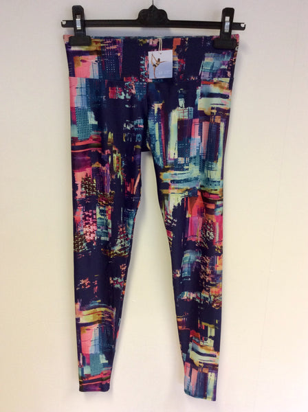 BRAND NEW ONZIE MULTI COLOURED PRINT FITNESS LEGGINGS SIZE XS