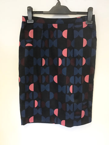 JIGSAW NAVY BLUE PATTERNED STRAIGHT PENCIL SKIRT SIZE 10