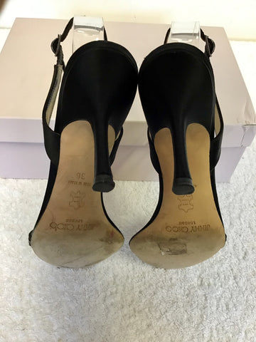 JIMMY CHOO BLACK SILK SATIN JEWEL TRIM SLINGBACK SANDALS SIZE 3.5/36