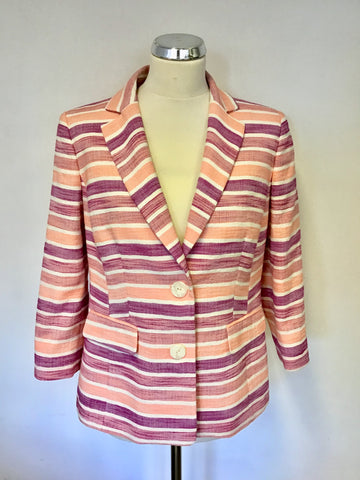 ARTIGIANO PEACH,PURPLE & WHITE STRIPE COTTON BLEND JACKET SIZE 12