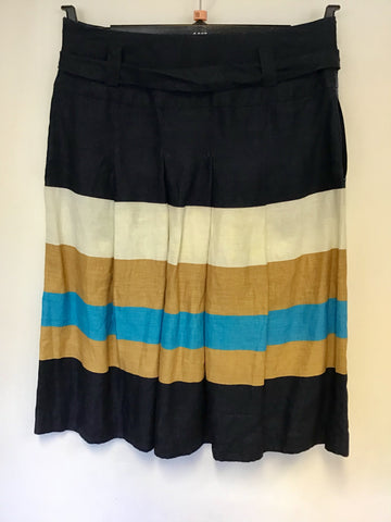 HOBBS STRIPED LINEN PLEATED TIE BELT SKIRT SIZE 10