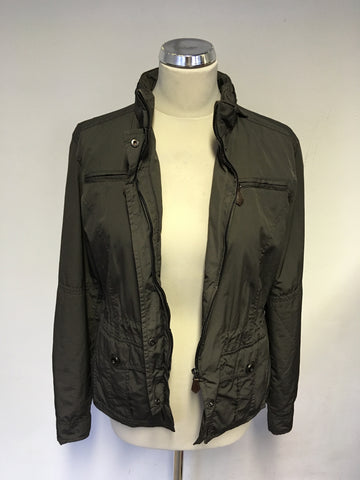 MASSIMO DUTTI BROWN ZIP UP JACKET WITH CONCEALED HOOD SIZE L