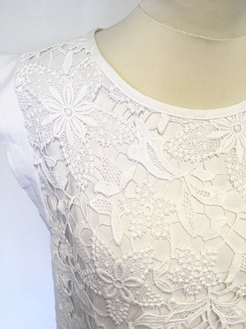 AIRFIELD WHITE LACE SLEEVELESS TOP SIZE 10