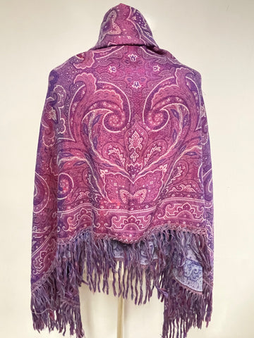 VINTAGE LANVIN PARIS PURPLE PAISLEY PATTERNED WOOL LARGE SHAWL/WRAP