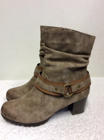 BRAND NEW REIKER LIGHT BROWN LEATHER FLEECE LINED ANKLE BOOTS SIZE 5/38