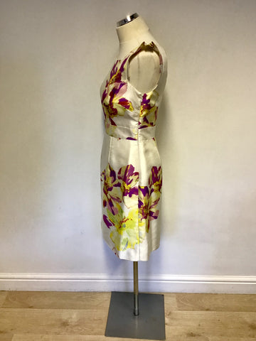 MONSOON IVORY FLORAL PRINT SPECIAL OCCASION DRESS SIZE 10