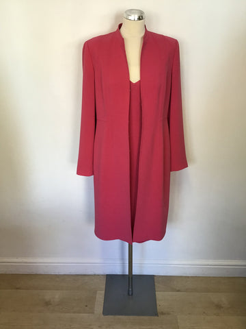 PLANET ROSE PINK SLEEVELESS DRESS & MATCHING COAT SIZE 12