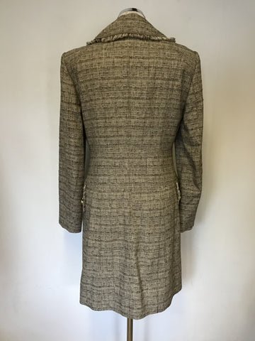 BETTY BARCLAY BROWN & CREAM WEAVE COTTON BLEND COAT SIZE 10
