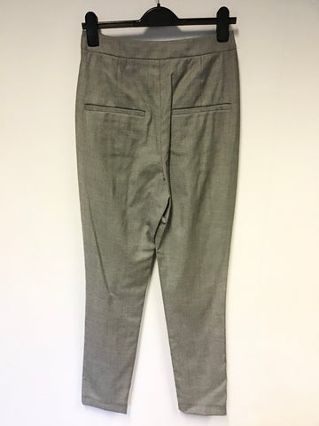 NEW LK BENNETT BLACK RIBBON GREY MARL HIGH RISE TROUSERS SIZE 8