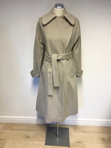 BRAND NEW REISS FAWN WOOL & CASHMERE BLEND KNEE LENGTH BELTED COAT SIZE S