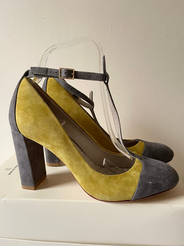 BODEN LIME GREEN & GREY SUEDE T BAR HEELS SIZE 4.5/37.5