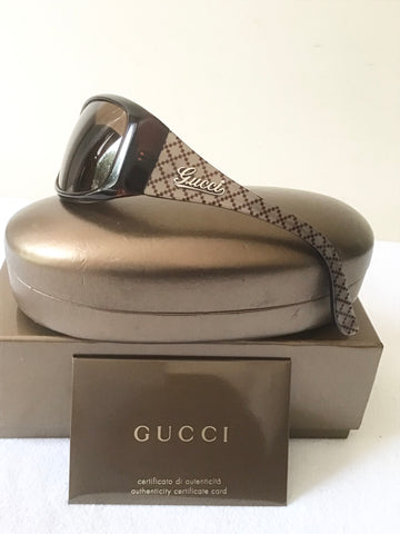 GUCCI GG 3032/N/S DARK BROWN & OLIVE DIAMOND PRINT FRAME DARK BROWN LENS SUNGLASSES
