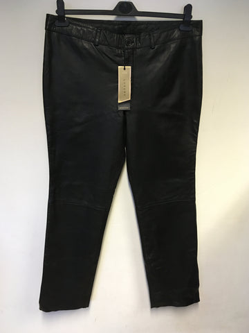 BRAND NEW MARKS & SPENCER LUXURY BLACK LEATHER TROUSERS SIZE 16