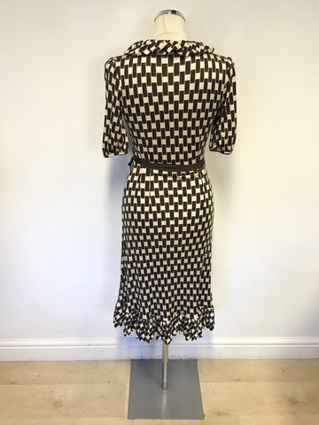 COAST BROWN & CREAM PRINT SILK SHORT SLEEVE WRAP AROUND DRESS SIZE 8