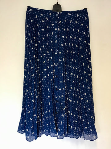 PARIS ATELIER & OTHER STORIES BLUE FLORAL & SPOT PRINT LONG PLEATED SKIRT SIZE 10