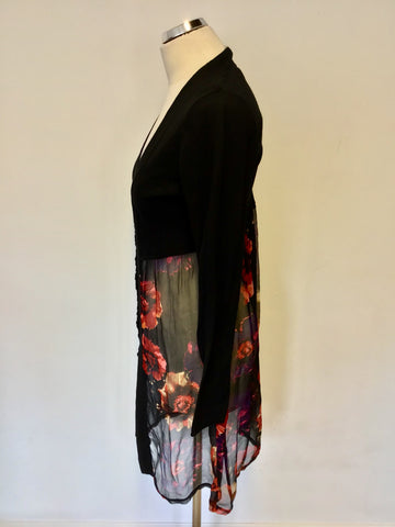 EAST BLACK COTTON & RED FLORAL SILK PRINT LONG CARDIGAN SIZE 12