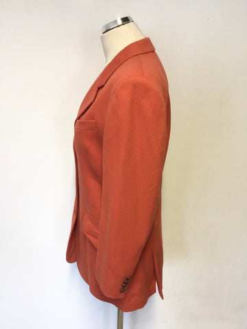 AUSTIN REED BURNT ORANGE PURE WOOL JACKET SIZE 8/10