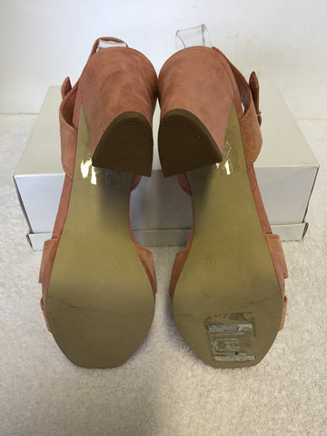 BRAND NEW MARKS & SPENCER AUTOGRAPH PINK SUEDE BLOCK SANDALS SIZE 5/38