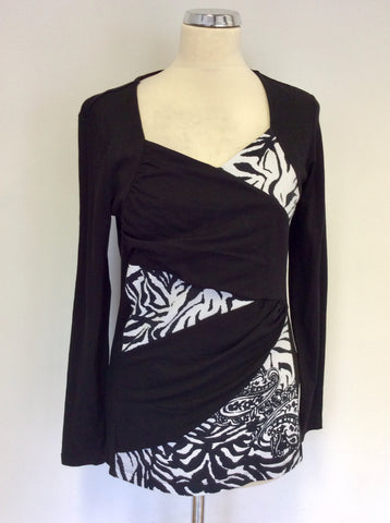 BETTY BARCLAY BLACK & WHITE PRINT LONG SLEEVE TOP SIZE 12