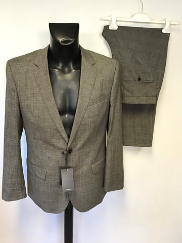 BRAND NEW HUGO BOSS BROWN CHECK WOOL BLEND SHORT LEG TROUSER SUIT SIZE 50 UK 40R