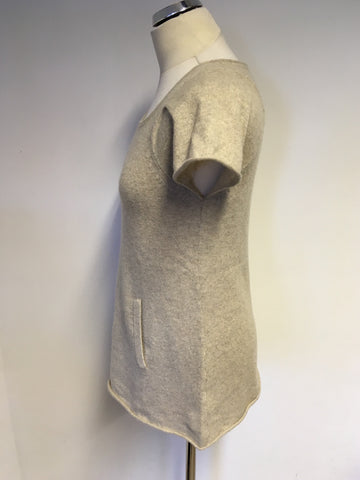 WHISTLES BEIGE CASHMERE SHORT SLEEVE JUMPER WITH POCKETS SIZE 2 UK 12