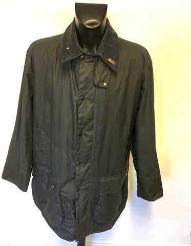 MENS BARBOUR BORDER DARK BLUE WAX COATED JACKET WITH NEW WARM PILE LINING SIZE 46