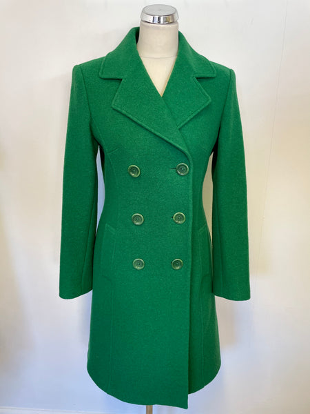 LK BENNETT EMERALD GREEN WOOL DOUBLE BREASTED KNEE LENGTH PEA COAT SIZE 10