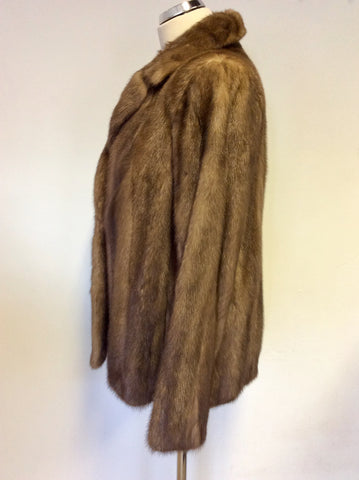 VINTAGE BROWN MINK FUR JACKET APPROX SIZE 14