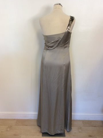 MONSOON SILVER SILK ONE SHOULDER SEQUIN TRIM LONG EVENING DRESS SIZE 12