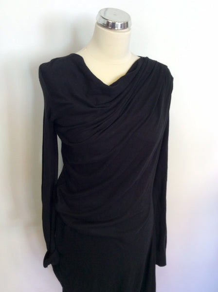 ALL SAINTS PATRIZ BLACK DRAPED LONG SLEEVE DRESS SIZE 10