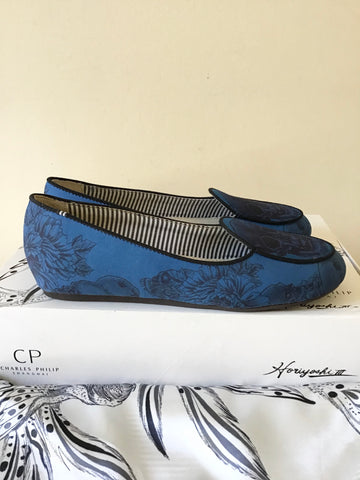 BRAND NEW CHARLES PHILLIP BLUE SKULL PRINT SLIP ON SATIN LOAFERS SIZE 3.5/36