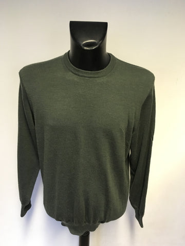 MARKS & SPENCER COLLEZIONE DARK GREEN WOOL & SILK BLEND JUMPER SIZE XL