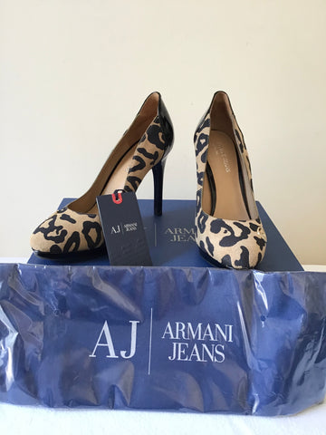BRAND NEW ARMANI JEANS LEOPARD PRINT SUEDE & PATENT LEATHER HEELS SIZE 3.5/36