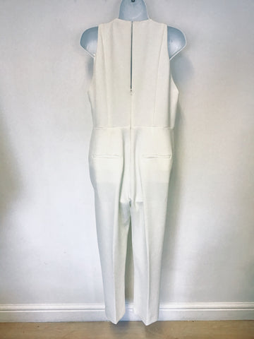WHISTLES WHITE SLEEVELESS JUMPSUIT SIZE 14