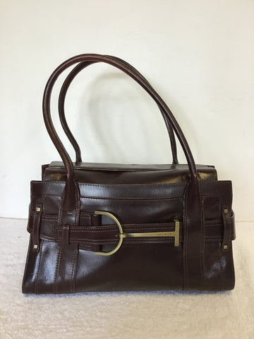 KAREN MILLEN DARK BROWN LEATHER SHOULDER BAGS