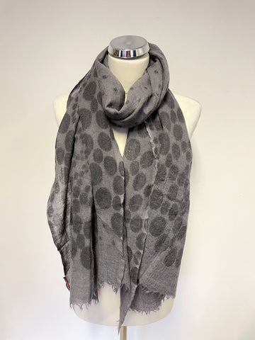 COMPTOIR DES COTONNIERS GREY SPOT PATTERNED WOOL SCARF/ WRAP