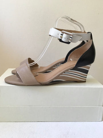MODA IN PELLE FAWN,BLACK & WHITE STRIPE WEDGE HEEL SANDALS SIZE 5/38