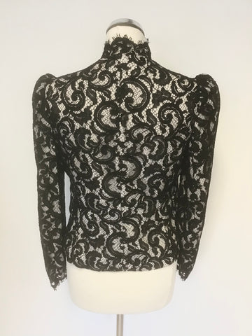 KAREN MILLEN BLACK LACE & CREAM LINED SPECIAL OCCASION JACKET SIZE 10