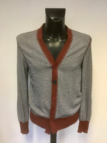 BENT & CORRUPT BLUE STRIPE CARDIGAN WITH RUST TRIM SIZE M