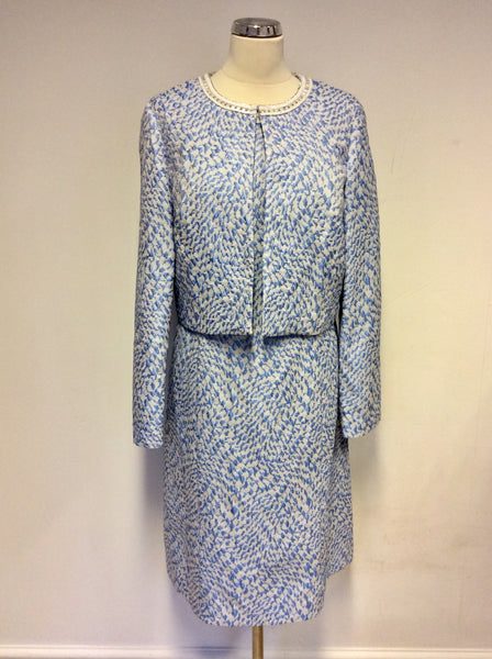 BRAND NEW GINA BACCONI BLUE PRINT EMBELISHED TRIM DRESS & JACKET SUIT SIZE 20