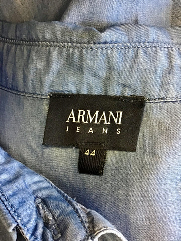ARMANI JEANS BLUE 3/4 SLEEVE SHIRT SIZE 44 UK 12