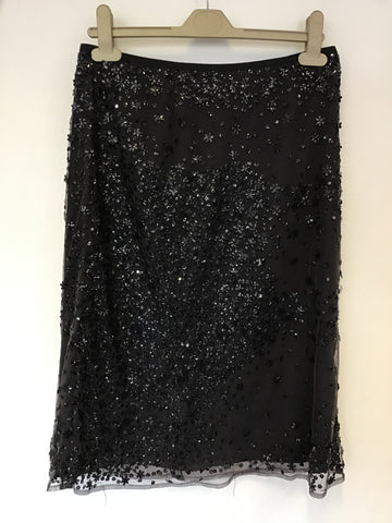 JIGSAW BLACK NET OVERLAY SEQUINNED KNEE LENGTH PENCIL SKIRT SIZE 10