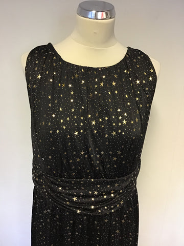 BIBA BLACK & GOLD STAR PRINT LONG EVENING DRESS SIZE 16