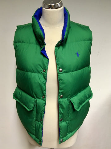 BRAND NEW RALPH LAUREN GREEN & BLUE REVERSIBLE PADDED GILET/ BODY WARMER SIZE S