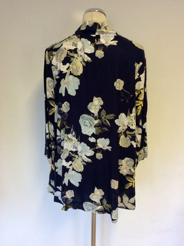 BRAND NEW ADINI DARK MIDNIGHT BLUE FLORAL PRINT JACKET/TOP SIZE S/M