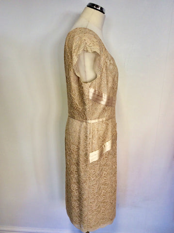 BRAND NEW DRESS CODE BY VEROMIA CHAMPAGNE LACE DRESS & JACKET SIZE 18