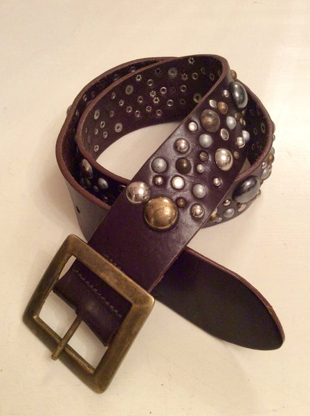 ALL SAINTS DARK BROWN METALLIC STUDDED LEATHER BELT SIZE L