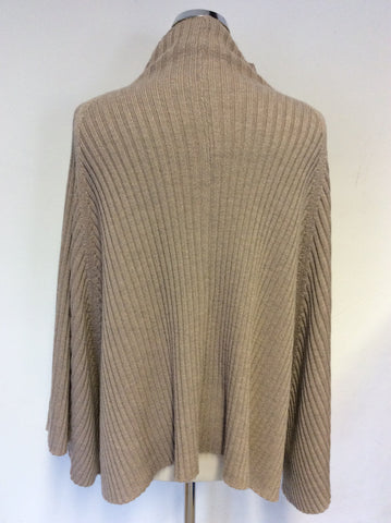 NITYA FAWN MERINO WOOL ZIP UP PONCHO/CARDIGAN ONE SIZE